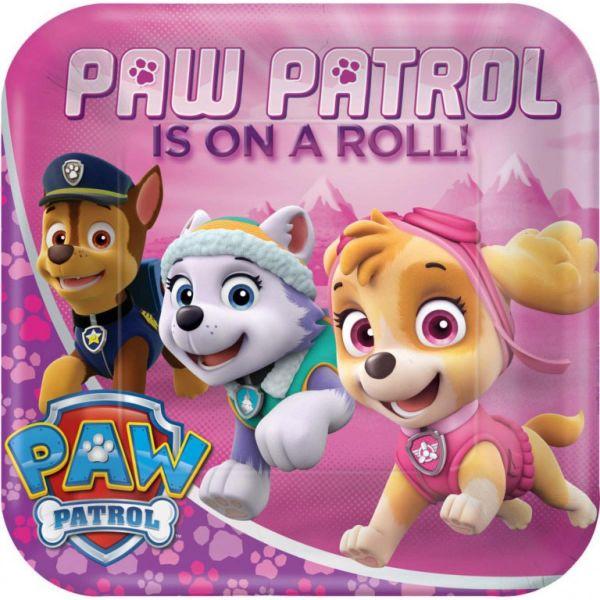 AMSCAN 551665 - Geburtstag & Party - Papp-Teller Paw Patrol Pink, 8 Stk., 23 cm