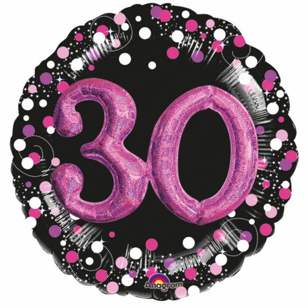 AMSCAN 3597601 - Sparkling Celebrations Pink, 30. Geburtstag - Folienballon XXL, 81cm