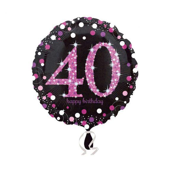 AMSCAN 3378601 - Sparkling Celebrations Pink, 40. Geburtstag - Folienballon, 43cm