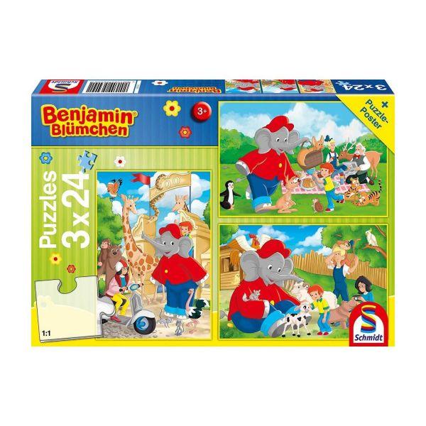 SCHMIDT 56400 - Puzzle - Benjamin Blümchen, Im Zoo, 3x24 Teile