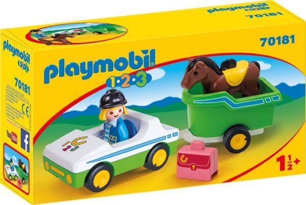 PLAYMOBIL 70181 - 1.2.3 - PKW mit Pferdeanhänger