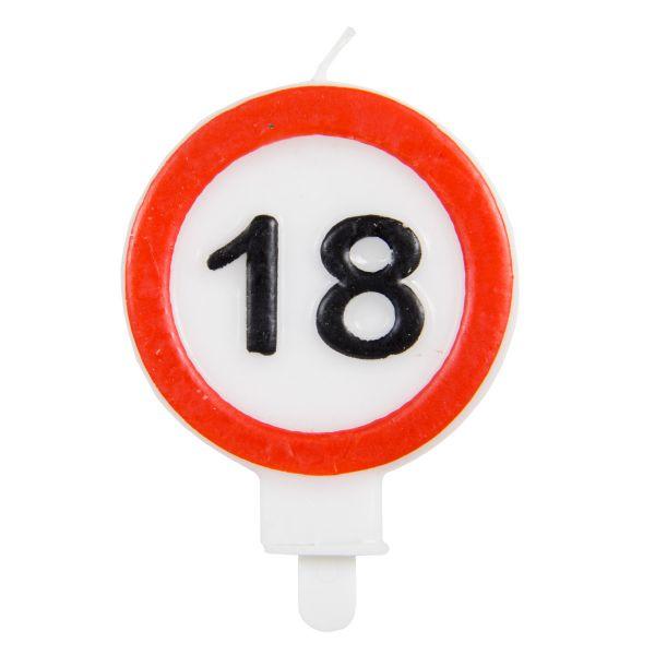 FOLAT 62618 - Geburtstag & Party - 18 Jahre Verkehrsschild Kerzen, 1 Stk.