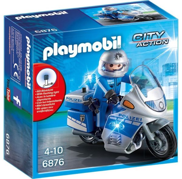 PLAYMOBIL 6876 - City Action Polizei - Motorradstreife mit LED-Blinklicht