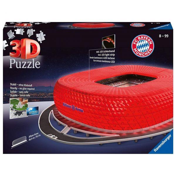 RAVENSBURGER 12530 - 3D Puzzle - Allianz Arena bei Nacht, FC Bayern - 216 Teile