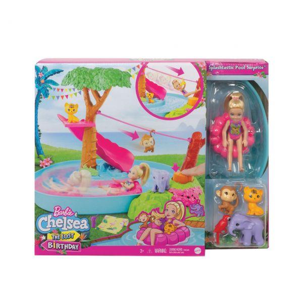 MATTEL GTM85 - Barbie - Dschungelabenteuer Chelsea Puppe The Lost Birthday Fluss Spielset