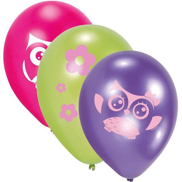 AMSCAN 998354 - Geburtstag & Party - Luftballons Latex Eule, 6 Stk.