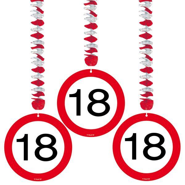 FOLAT 05117 - Geburtstag & Party - 18 Jahre Verkehrsschild Rotorspirale, 3er Set