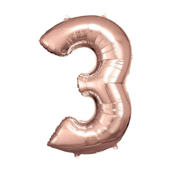 RM 9906278 - Folienballon SuperShape - Zahl 3, rosé gold, 53x83cm