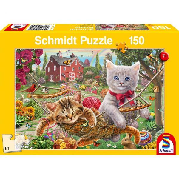 SCHMIDT 56289 - Puzzle - Kätzchen im Garten, 150 Teile