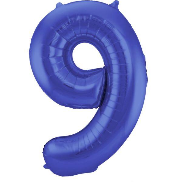 FOLAT 65929 - Folienballon - Zahl 9, Matte Blau, 86 cm