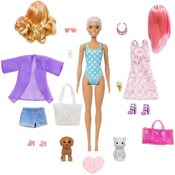 MATTEL GPD55 - Barbie - Color Reveal Ultimate Puppe Strand Wechseloutfits