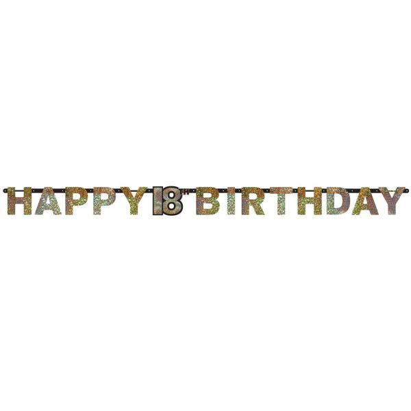 AMSCAN 9900553 - Sparkling Celebrations Gold, 18. Geburtstag - Partykette, 213x16,2 cm
