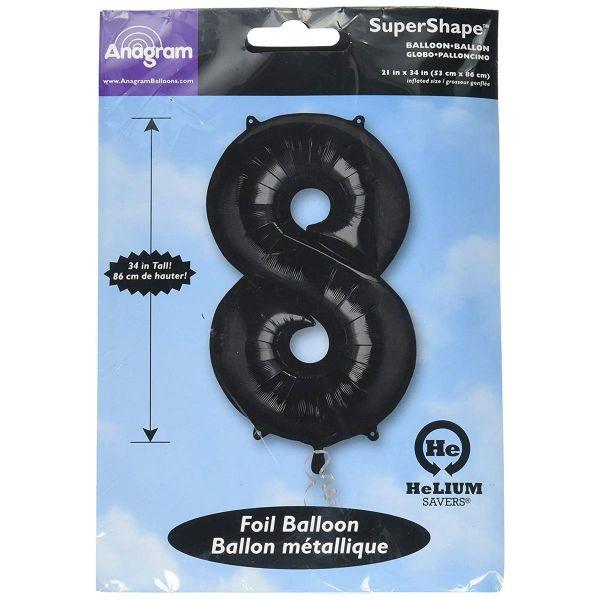 AMSCAN 30147 - Folienballon - Zahl 8, schwarz, 90cm