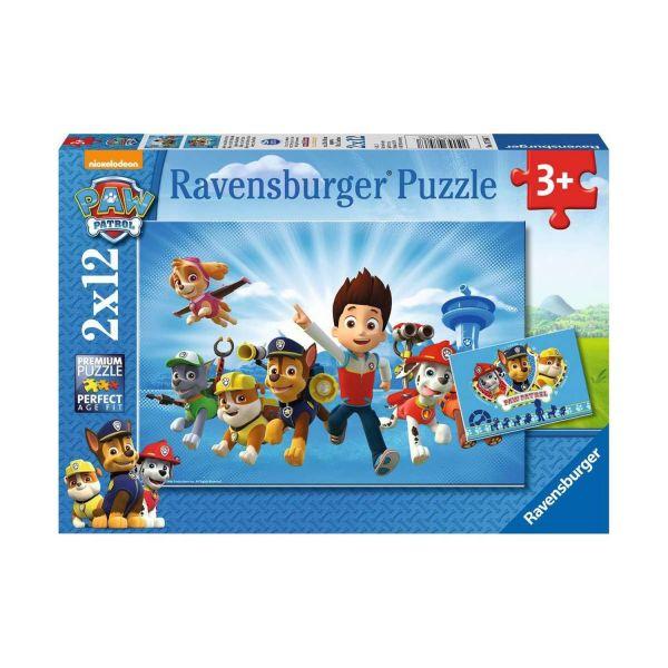 RAVENSBURGER 07586 - Puzzle - Ryder und die Paw Patrol, 2x12 Teile