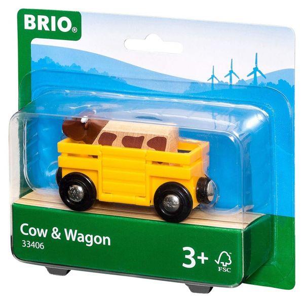 BRIO 33406 - Bahn - Tierwagen mit Kuh