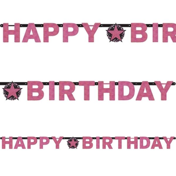 AMSCAN 9901185 - Sparkling Celebrations Pink, Happy Birthday - Partykette, 213x16,2 cm