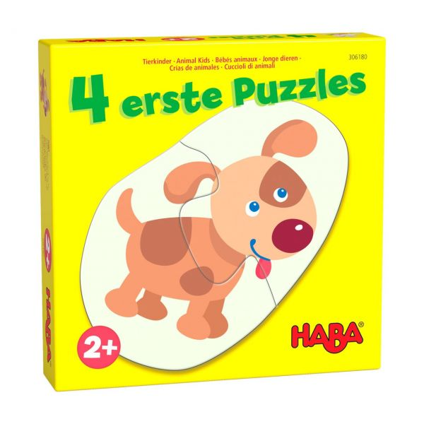 HABA 306183 - Puzzle - 4 erste Puzzles, Tierkinder, 2-4 Teile