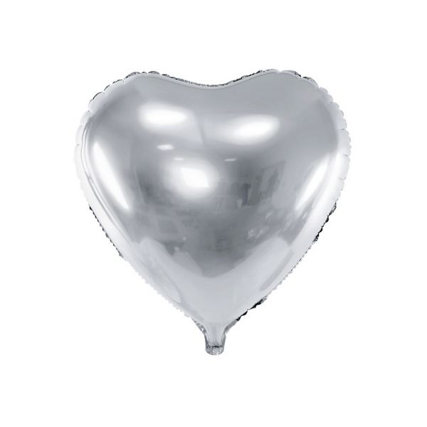 PD FB23M-018 - Folienballon - Herz, Silber, ca. 61cm