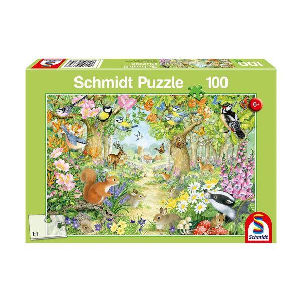 SCHMIDT 56370 - Puzzle - Tiere im Wald,Kinderpuzzle, 100 Teile
