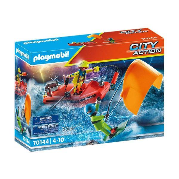 PLAYMOBIL 70144 - City Action - Seenot: Kitesurfer-Rettung mit Boot