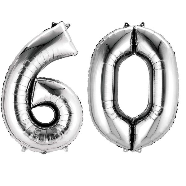 AMSCAN 33876 - Folienballon - Zahl 60, silber, 90cm