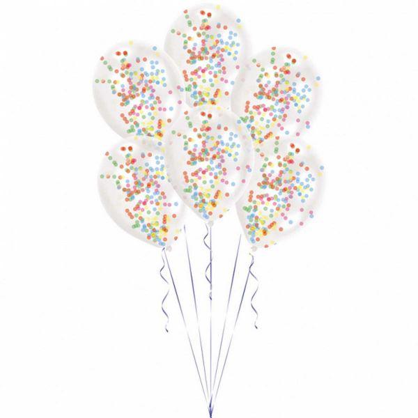 AMSCAN 9903277 - Geburtstag & Party - Konfetti Latex Ballon, bunt, 6 Stk