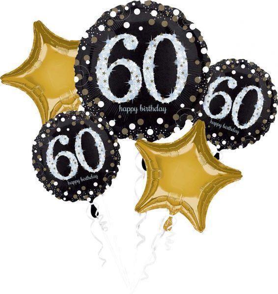 AMSCAN 3214701 - Sparkling Celebrations Gold, 60. Geburtstag - Folienballon-Set, 5-tlg.
