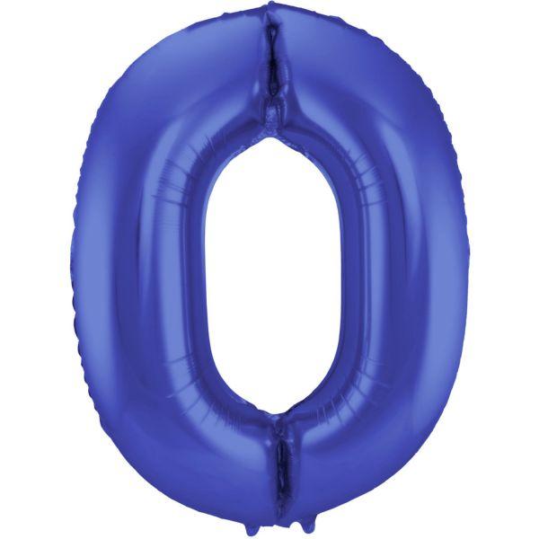 FOLAT 65920 - Folienballon - Zahl 0, Matte Blau, 86 cm