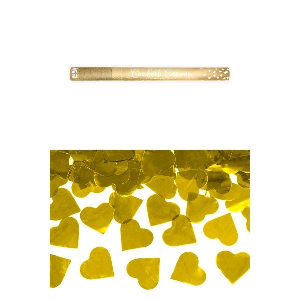 Konfetti Kanone Herzen gold 60cm