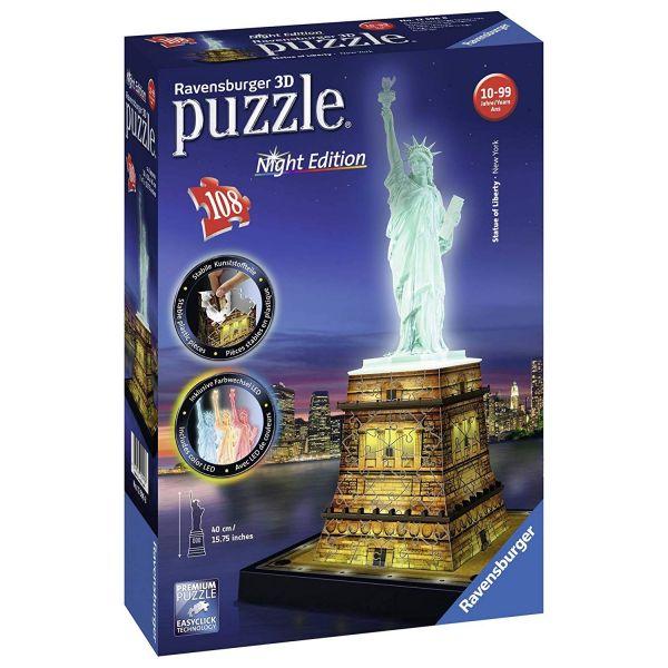 RAVENSBURGER 3D-Puzzle 12596 - Freiheitsstatue bei Nacht, 108-teilig