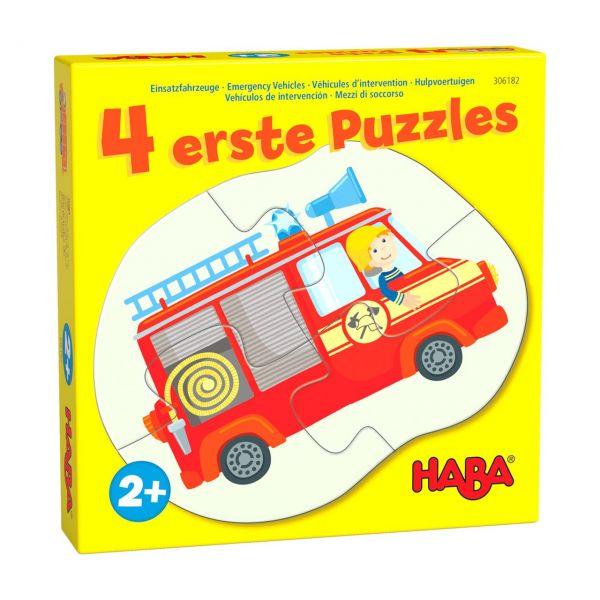 HABA 306182 - Puzzle - 4 erste Puzzles, Einsatzfahrzeuge, 2-4 Teile