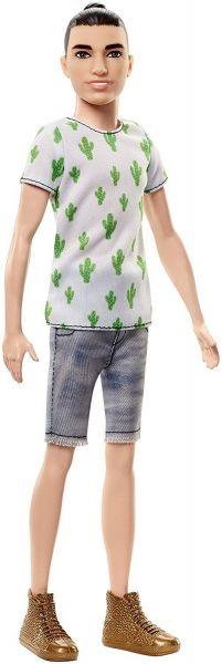 MATTEL FJF74 - Fashionistas - Ken, weißes Shirt mit Kaktus-Print