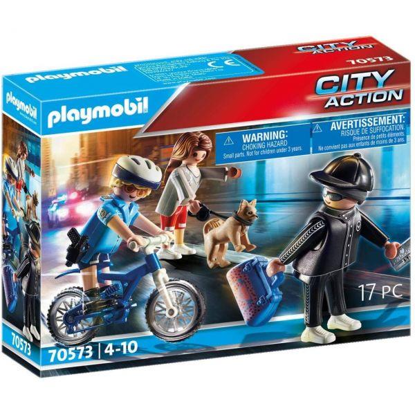 PLAYMOBIL 70573 - City Action - Polizei-Fahrrad - Verfolgung des Taschendiebs