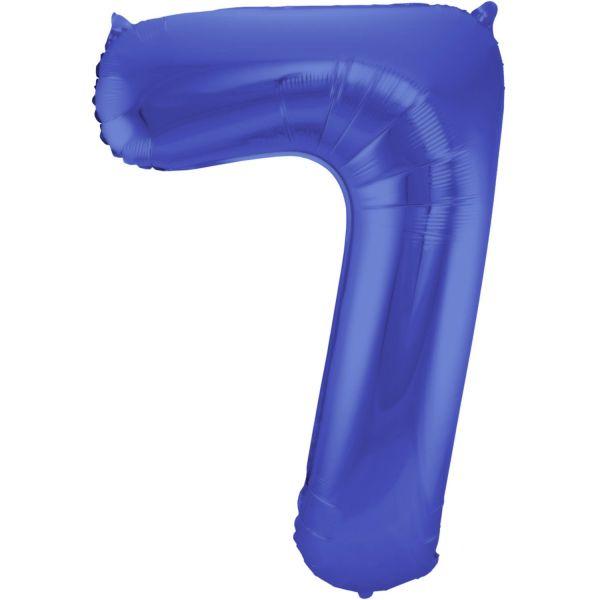 FOLAT 65927 - Folienballon - Zahl 7, Matte Blau, 86 cm