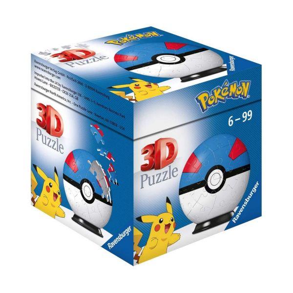 RAVENSBURGER 11265 - Puzzle - Pokémon Pokéballs - Superball 3D, 54 Teile