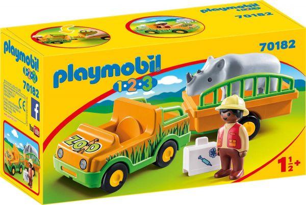 PLAYMOBIL 70182 - 1.2.3 - Zoofahrzeug mit Nashorn