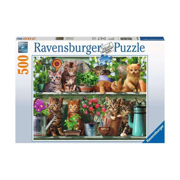 RAVENSBURGER 14824 - Puzzle - Katzen im Regal, 500 Teile