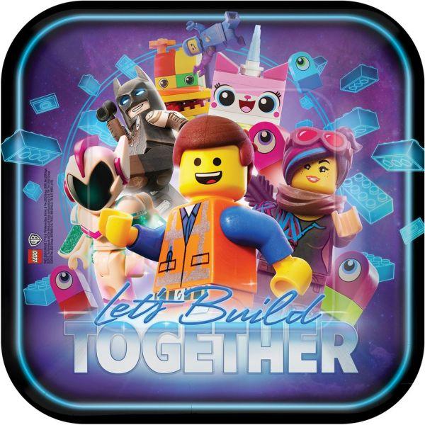 AMSCAN 551711 - Geburtstag & Party - Pappteller LEGO Movie 2 8Stk. 23 cm