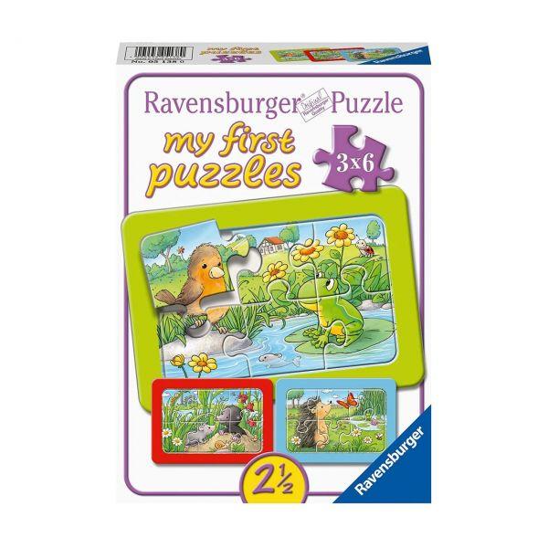 RAVENSBURGER 05138 - Puzzle - Kleine Gartentiere 3x6 Teile