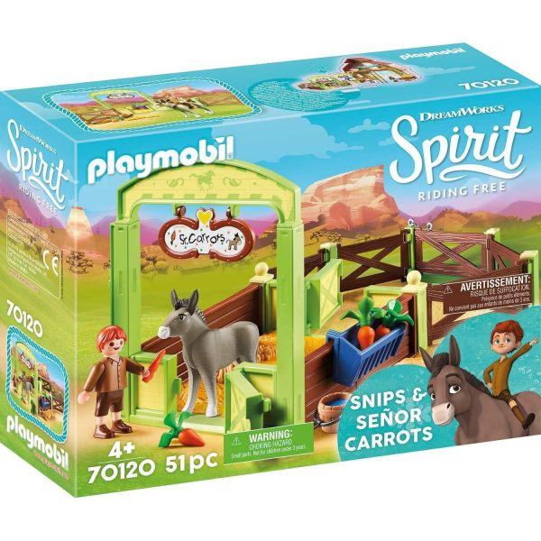 PLAYMOBIL 70120 - Spirit Riding Free - Pferdebox Snips & Herr Karotte