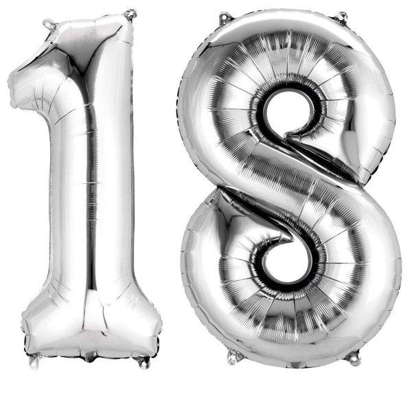 AMSCAN 33866 - Folienballon - Zahl 18, silber, 90cm