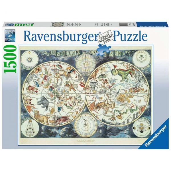 RAVENSBURGER 16003 - Puzzle - Weltkarte mit fantastischen Tierwesen, 1500 Teile