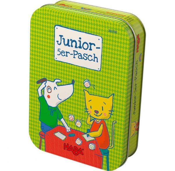 HABA 303700 - Mitbringspiel in Metalldose - Junior 5-er Pasch