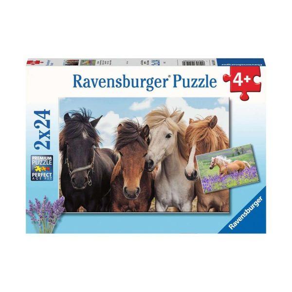 RAVENSBURGER 05148 - Puzzle - Pferdeliebe, 2x24 Teile