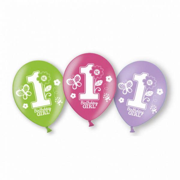 AMSCAN 999712 - Geburtstag & Party - Ballons Latex 1. Geburtstag Girl, 6 Stk.