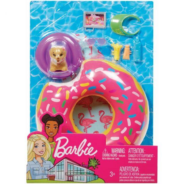 MATTEL FXG38 - Barbie - Möbel-Spielset Outdoor mit Donut-Schwimmring