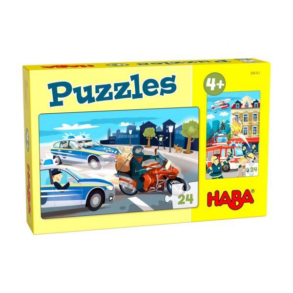 HABA 306161 - Puzzle - Einsatzfahrzeuge, 2x24 Teile