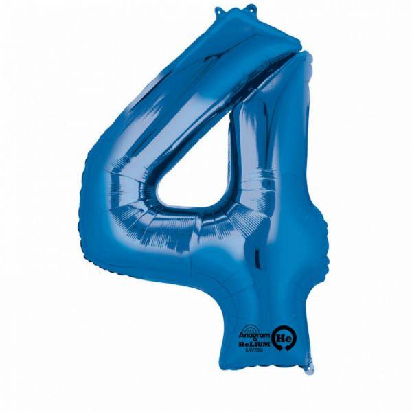 AMSCAN 28282 - Folienballon - Zahl 4, blau, 91 cm