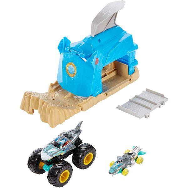 MATTEL GKY03 - Hot Wheels - Monster Truck Startrampe Shark Wreak, blau
