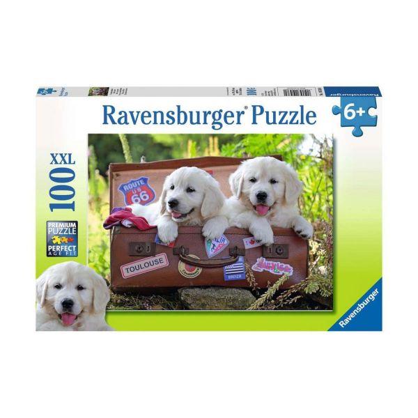 RAVENSBURGER 10538 - Puzzle - Golden Retriever Welpen, Verschaufspause, 100 Teile XXL